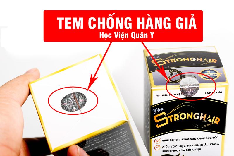 Tem chống hàng giả Học Viện Quân Y của viên uống StrongHair